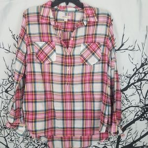 Pink & Orange Plaid Button Down Collared Shirt XL